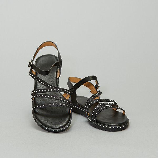 Betere Platte sandalen met hoge hak met studs Femme - zwart - Kiabi - 22,00€ RT-57