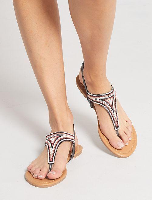 Platte sandalen met kralen                                         zwart