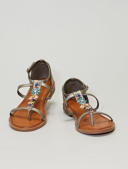Platte sandalen met sieraden                                         BIEGE