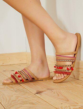 Platte sandalen van imitatieleer - Kiabi