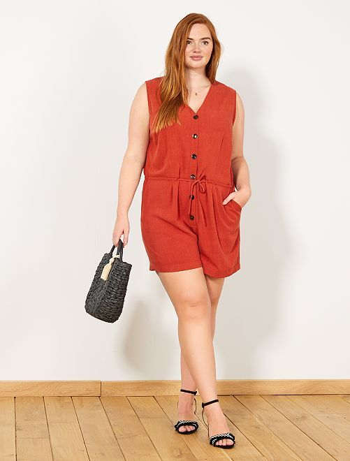 Playsuit met grote knopen                             rood Dames size+