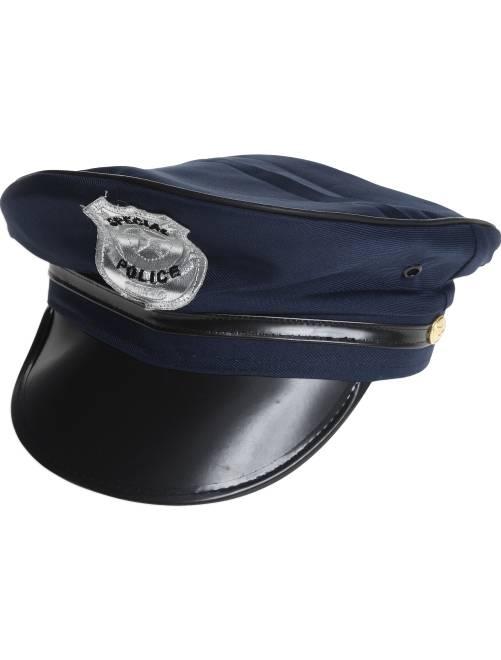 Politiepet met vizier en insigne                             blauw