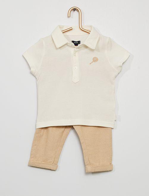 Polo + broek 'Ecodesign'                             wit / beige