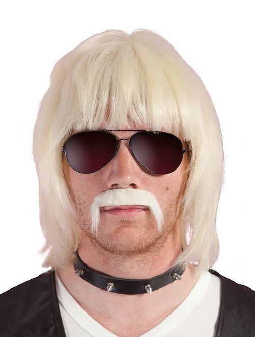 Pruik en snor van Bobby Blond                             BIEGE