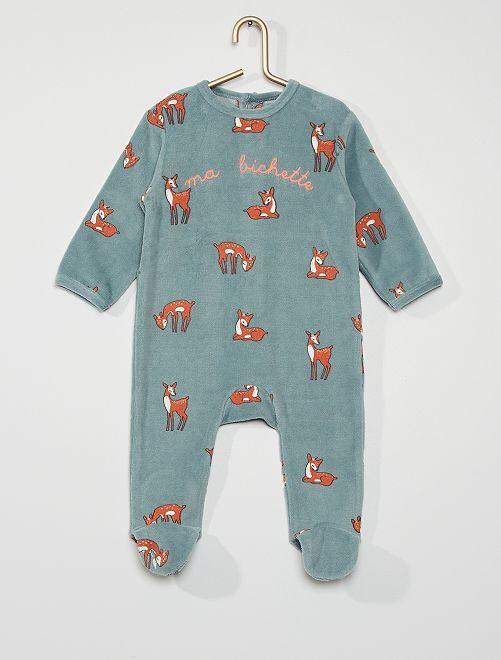 Pyjama van velours                                                                                                                                                                                                                                         BLAUW
