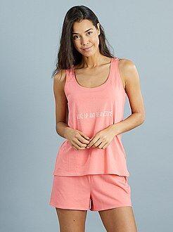 Lingerie maat S-XXL Pyjamaset met een short en een mouwloze top