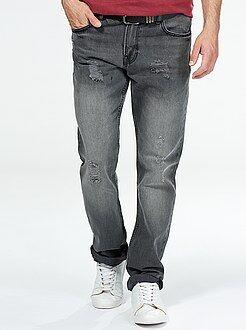 Jeans heren - Regular jeans met versleten plekken