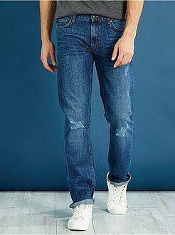 Herenmode maat S-XXL Regular jeans van 100% katoen met lichte slijtplekken