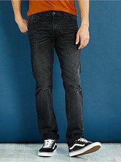 Jeans heren - Regular jeans van 100% katoen met lichte slijtplekken