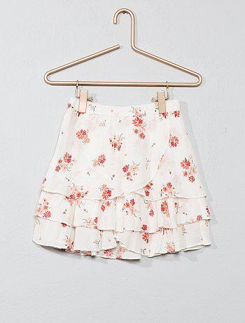 ed1fc05055e84f Meisjeskleding 3-12 jaar - Rok van crêpestof met ruches en bloemetjes -  Kiabi
