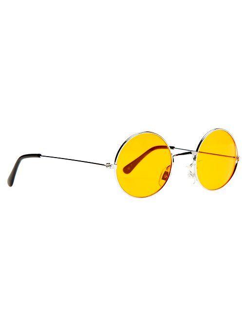 Ronde bril verkleedkleding hippie                                                                             oranje