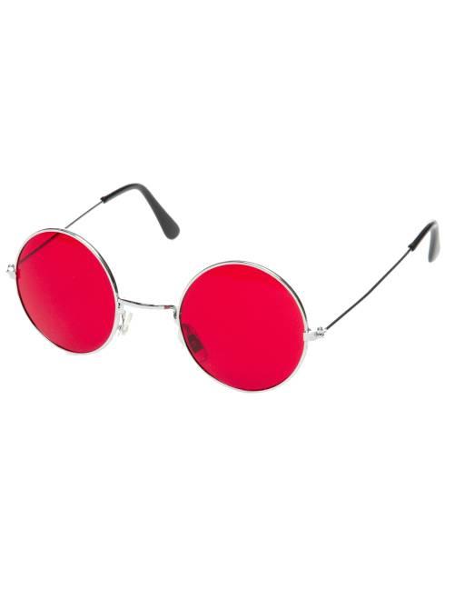 Ronde bril verkleedkleding hippie                                                                                         rood
