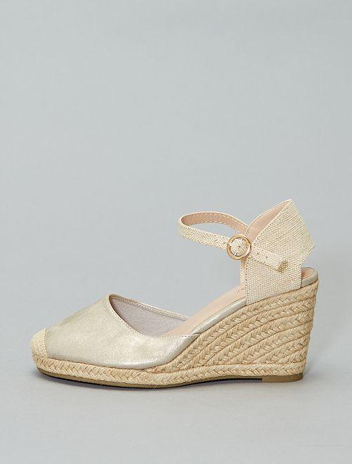 Sandalen met sleehakken                             GRIJS
