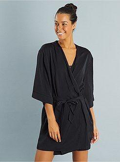 Badjas - Satijnen badjas met Peignoir Japanse print