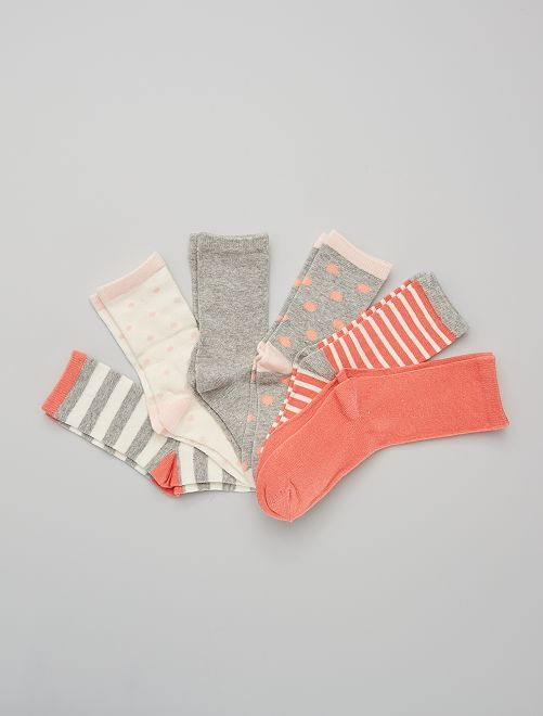Set met 6 paar sokken                                         roze / grijs