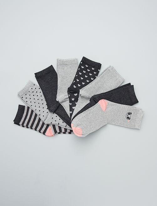 Set met 8 paar sokken                             GRIJS