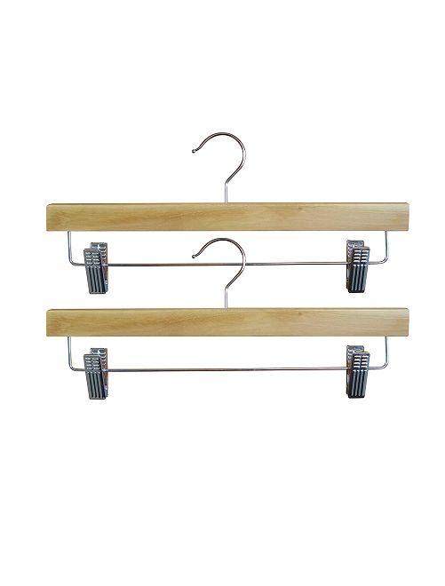 Set van 2 houten kapstokken met klemmen                             BRUIN