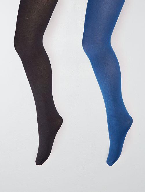 Set van 2 paar dunne, niet doorzichtige panty's                             zwart Kinderkleding meisjes