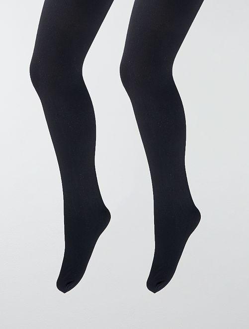 Set van 2 paar dunne, niet doorzichtige panty's                             zwart