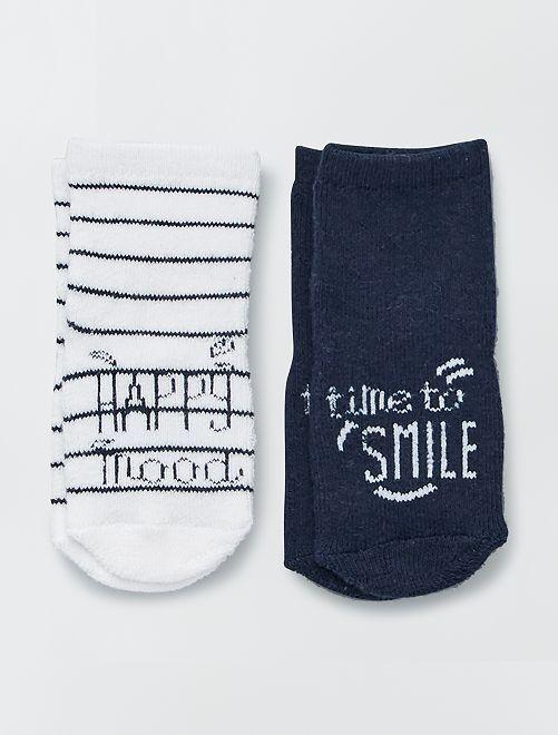 Set van 2 paar sokken van boucléwol                                         BLAUW