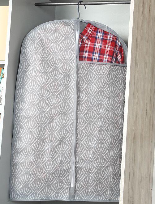 Set van 2 stoffen kledinghoezen van 60 x 90 cm                                         wit / grijs