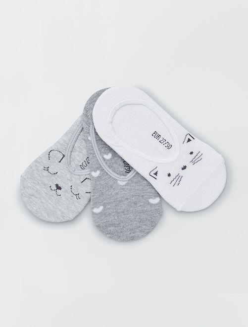 Set van 3 paar onzichtbare sokken                                         GRIJS