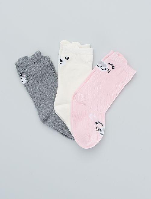 Set van 3 paar sokken 'dieren'                                         ROSE