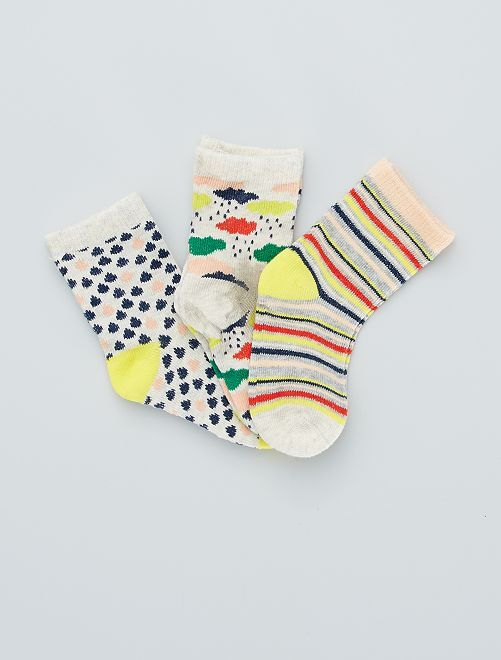 Set van 3 paar sokken met print                                         BIEGE