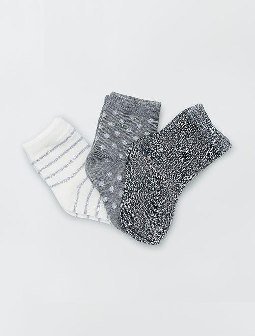 Set van 3 paar sokken met print                                         grijs