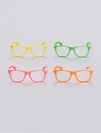 1f730a837119f5 Accessoires - Set van 4 neonkleurige brillen zonder glazen - Kiabi