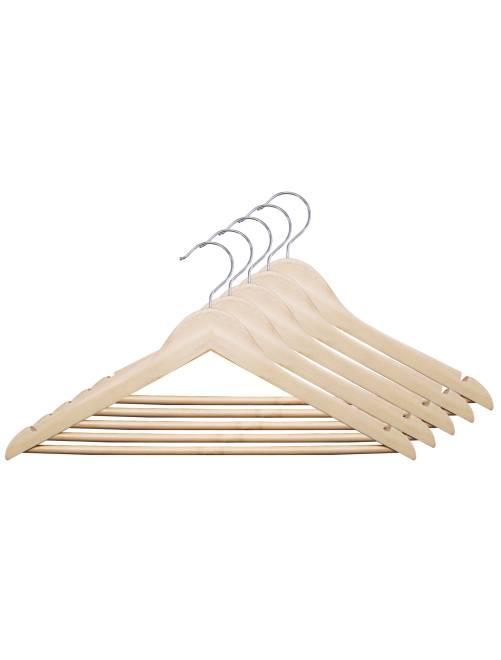 Set van 5 kleerhangers van natuurlijk hout                             BOIS
