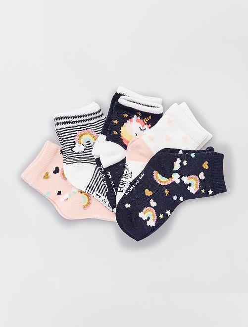 Set van 5 paar ecologisch ontworpen sokken                                                                                                                                         BLAUW
