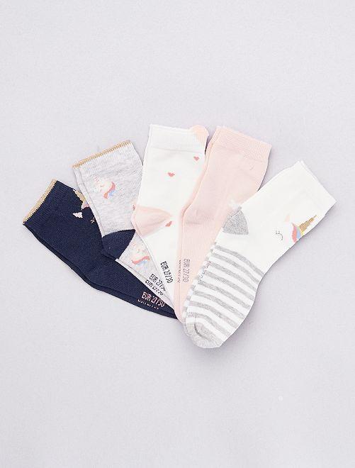 Set van 5 paar sokken met dierenprint                             BLAUW