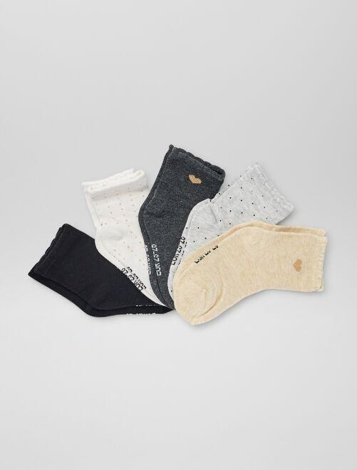 Set van 5 paar sokken met print                             WIT