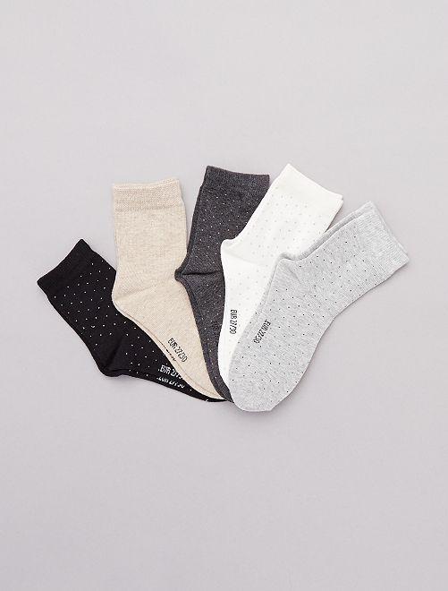 Set van 5 paar sokken met stippen                             GRIJS