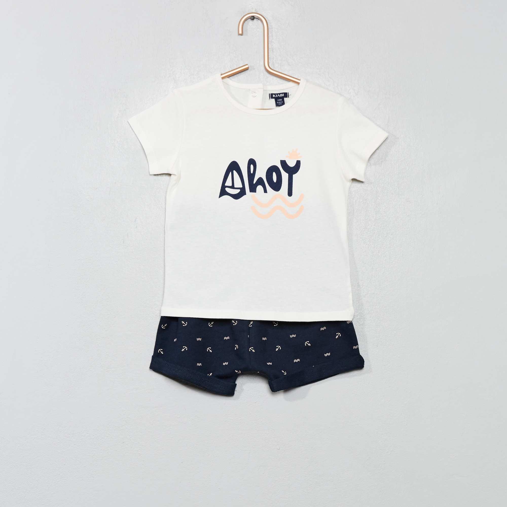 Babykleding Setjes.Setje Met Een T Shirt En Een Short Jongens Babykleding Wit Kiabi