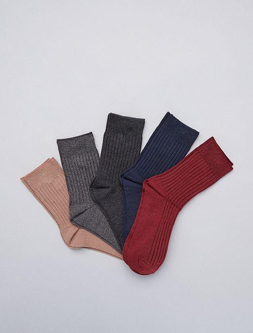 Setje van 5 paar hoge sokken                                                     BIEGE