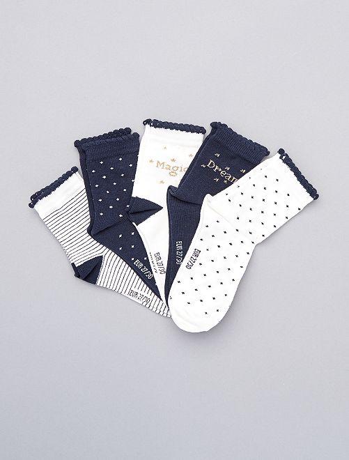 Setje van 5 paar hoge sokken                             WIT