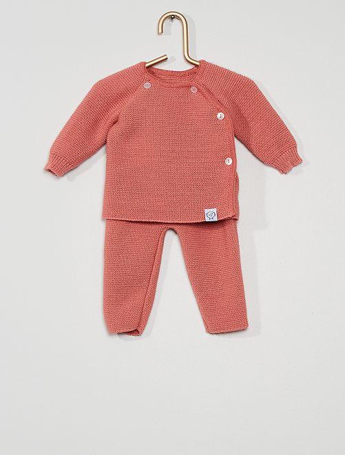 Setje van tricot 'La Manufacture de Layette'                             ROSE
