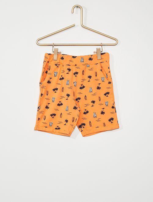 Short met all-over print                             oranje