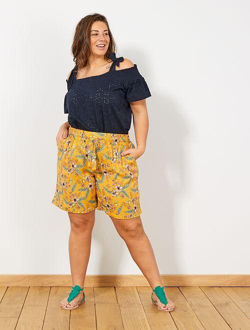 Short met elastische riem                     GEEL Dames size+