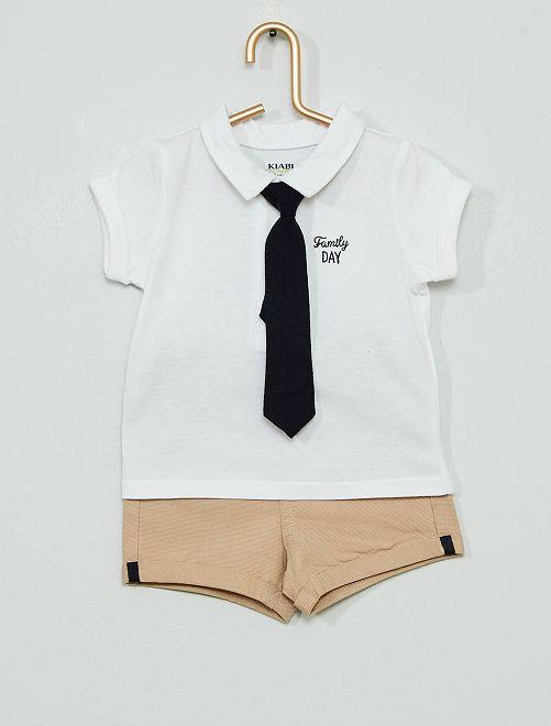 Short + polo 'Ecodesign'                             wit / beige