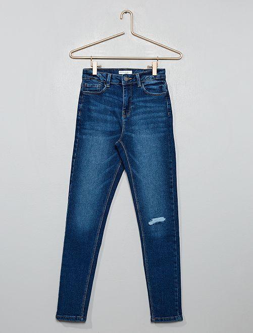 Skinny destroyed denim jeans met een hoge taille                                                     BLAUW