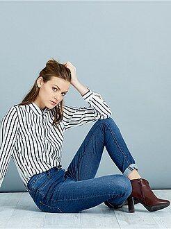 Jeans - Skinny jeans met superhoge taille - Lengte US32