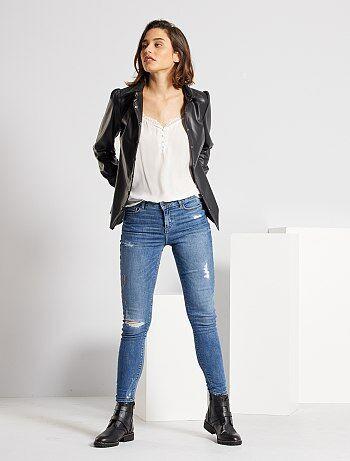 Skinny jeans met versleten plekken en een zeer hoge taille - Kiabi