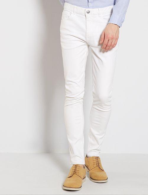 Skinny jeans van stretch katoen                                                     wit