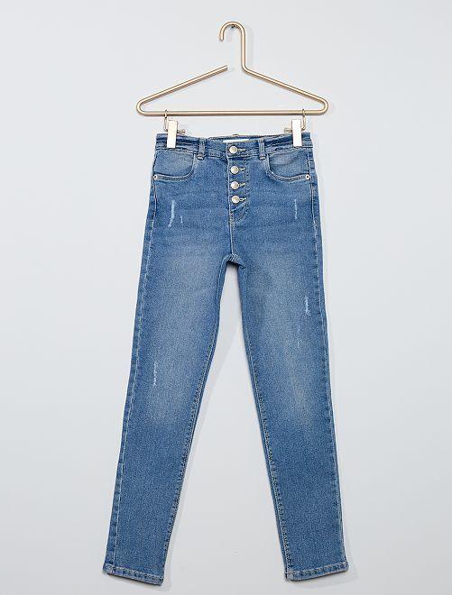 Slim-fit destroy-jeans met hoge taille                                         BLAUW