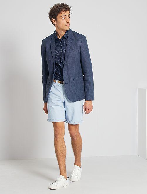 Slim-fit jasje van linnen en katoen                                         BLAUW