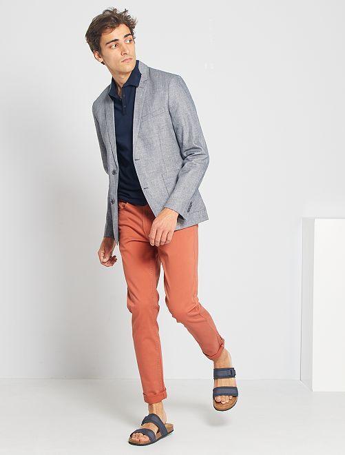 Slim-fit jasje van linnen en katoen                                         grijs