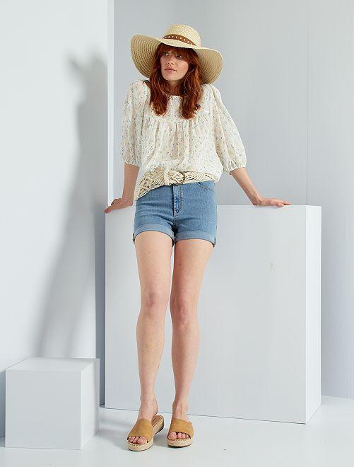 Slim-fit jeansshort                                                     BLAUW